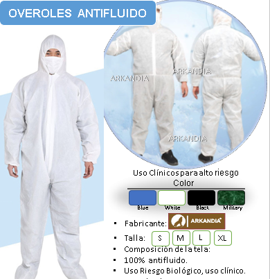 overol antifluido blanco